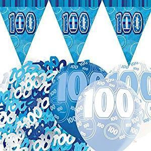 Glitz Blue Flag Banner Decoration Pack 100th