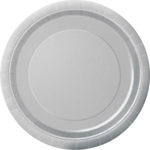 "Silver Solid Round 9"" Dinner Plates, 8ct"