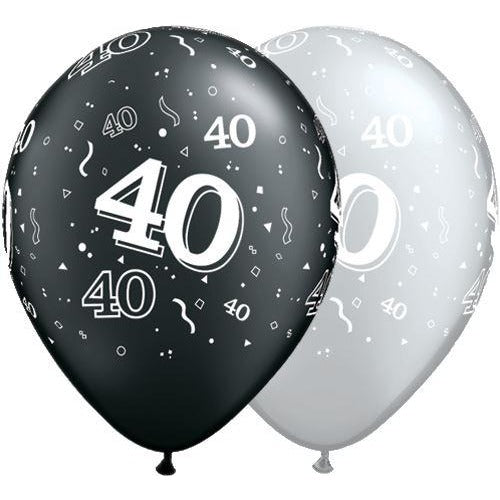 Qualatex Black And Silver Age 40 Latex Balloons X5