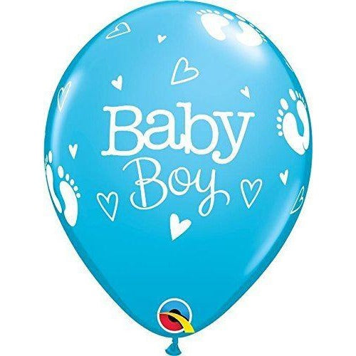 "11""  RND  ROBIN'S EGG     25CT BABY BOY FOOTPRINTS & HEARTS"