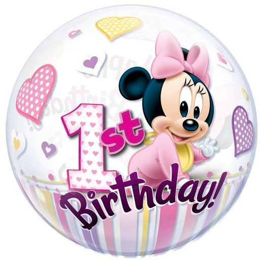 "22""  SINGLE BUBBLE        01CT,  DN MINNIE MOUSE 1ST BDAY"