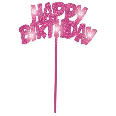 Pink Happy Birthday Flashing Pick Decoration