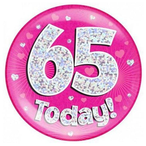 "6"" Jumbo Badge Pink Holographic Age 65"
