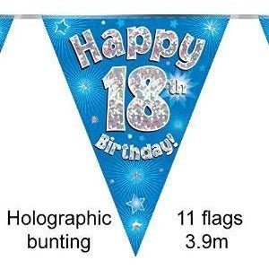 HAPPY 18TH BIRTHDAY BLUE HOLOGRAPHIC BUNTING