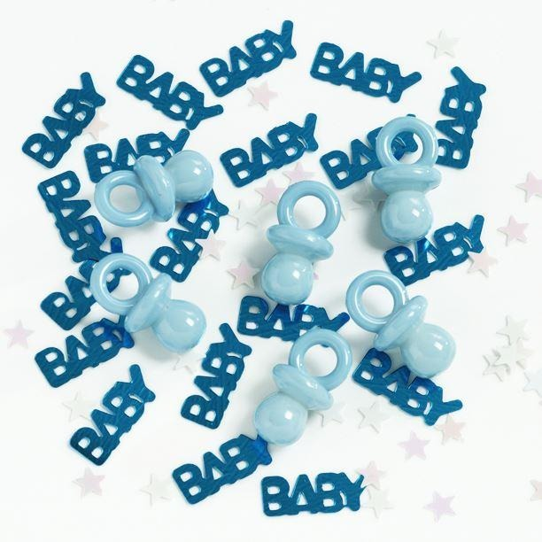 It's a boy confetti with pacifiers