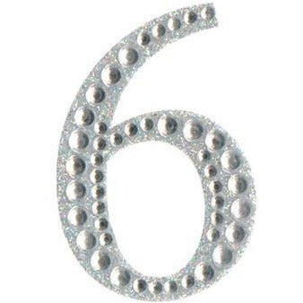 Eleganza Stickers - Silver Number 6