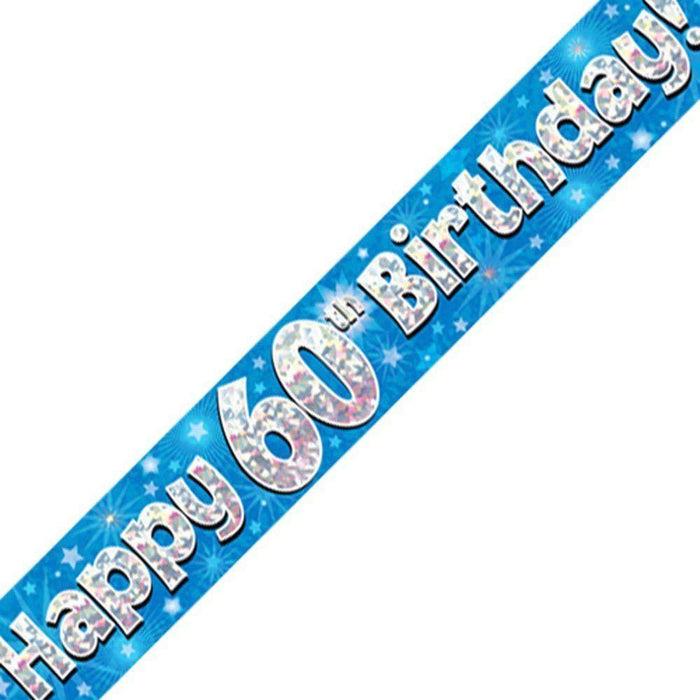 Blue Holographic Foil Banner,60th Birthday