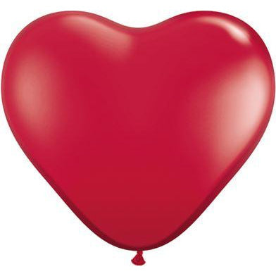 "Qualatex 6"" Ruby Red Heart Latex Balloons X100"