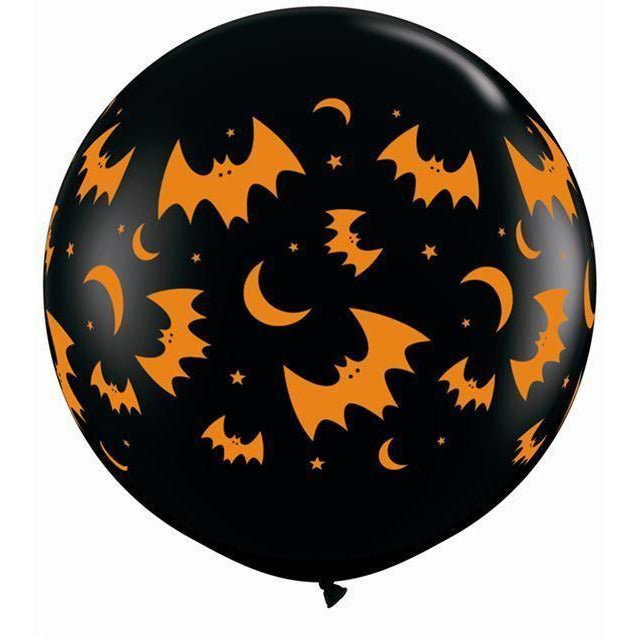 3ft Black Flying Bats and Moons Latex Halloween
