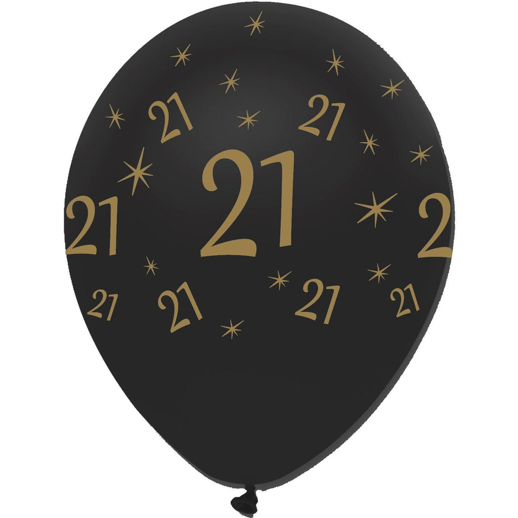 Creative Party Latex Balloons Black & Gold Age 21