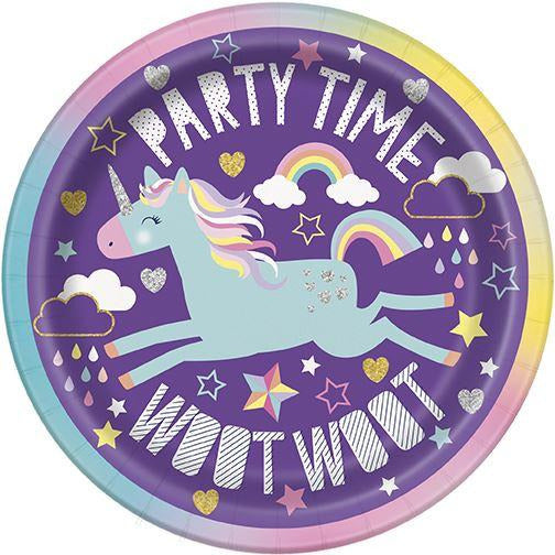 "8 Unicorn 7"" Plates Unique Party"