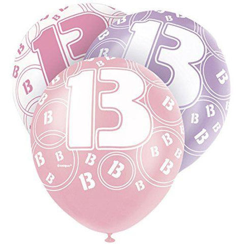 Pink Glitz Latex Balloons Age 13 (Special price of 65p)