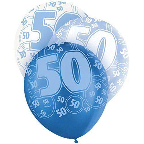 Blue Glitz Latex Balloons Age 50 (Special price of 65p)
