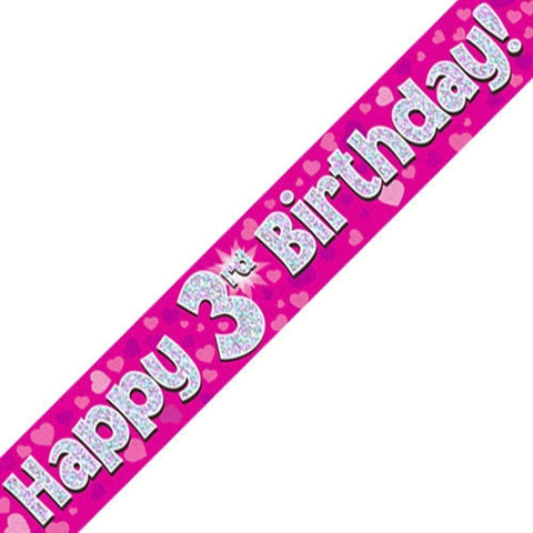 Pink Holographic Foil Birthday Age 3 Banner. Happy 3rd Birthday Banner - Wholesale