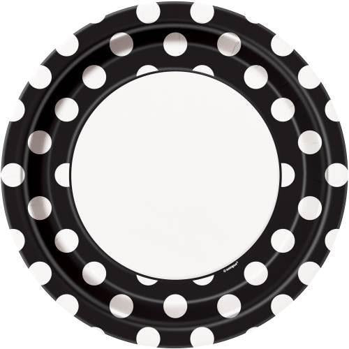 "Midnight Black Dots Round 9"" Dinner Plates, 8ct"