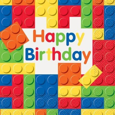 Building Blocks Birthday Luncheon Napkins, 16ct