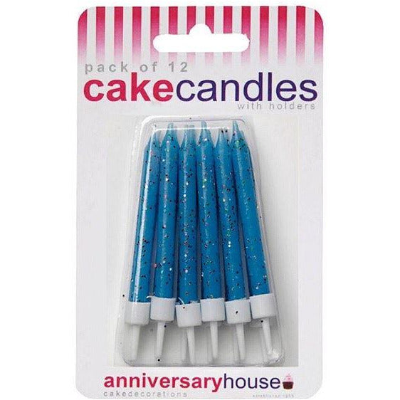Blue Glitter Candles Anniversary House
