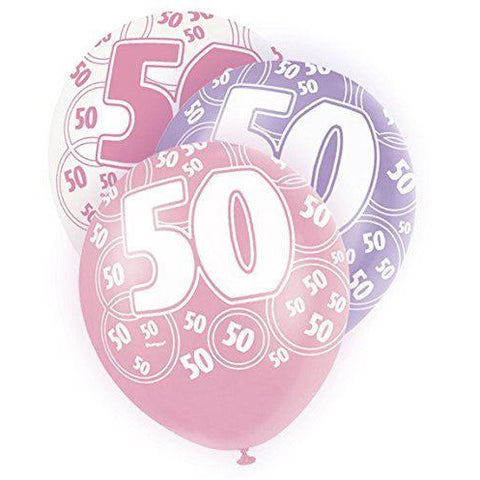Pink Glitz Latex Balloons Age 50 (Special price of 65p)