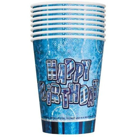 8 9oz Blue Happy Birthday Gltz Prism Cups