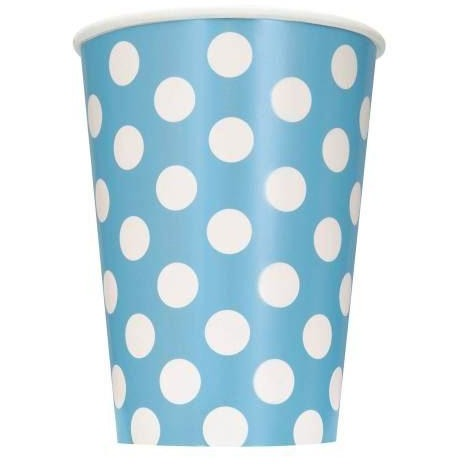 Powder Blue Dots 12oz Paper Cups, 6ct