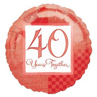 "18"" Round Happy Anniversary 40 Years Together Balloon"