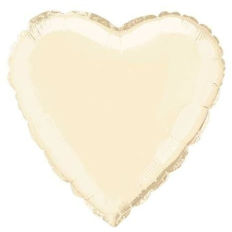 "Solid Heart Foil Balloon 18"", Packaged - White"