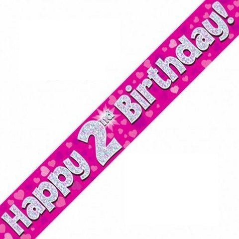 Pink Holographic Foil Birthday Age 2 Banner. Happy 2nd Birthday Banner - Wholesale