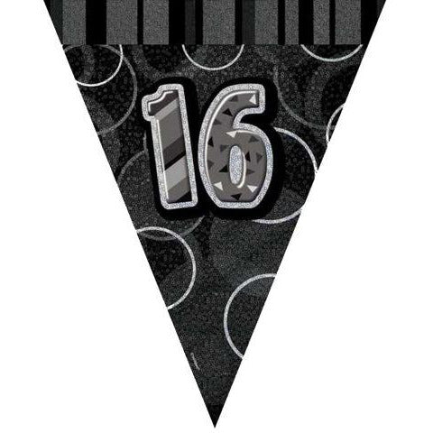 Age 16 Black Silver Flag Banner 9ft Unique (special price 42p)