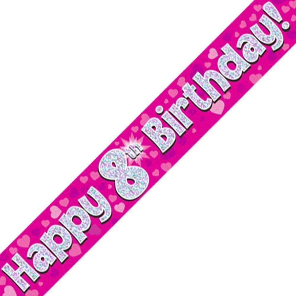 Pink Holographic Foil Birthday Age 8 Banner. Happy 8th Birthday Banner - Wholesale