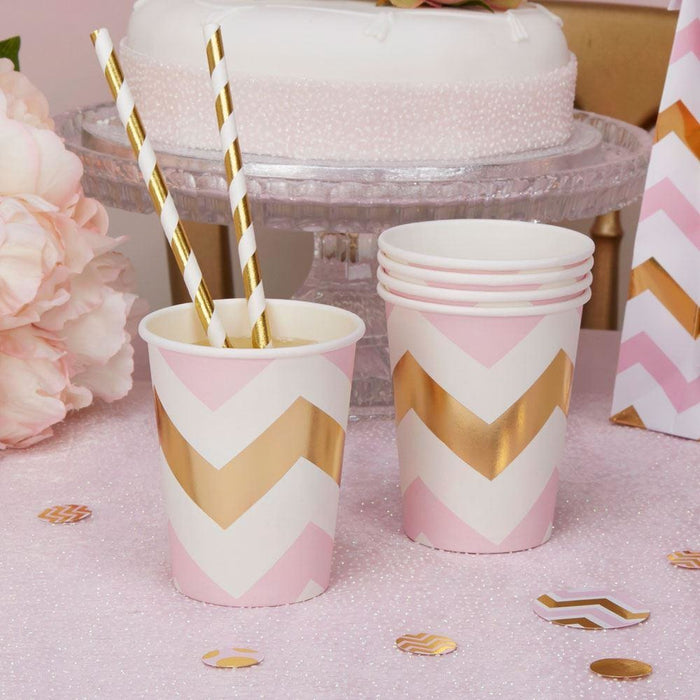 Pattern Works - Cup Pink Chevron - 8 pack