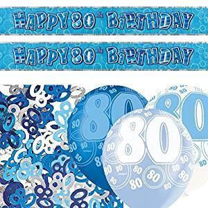 Glitz Blue Foil Banner Decoration Pack Age 80