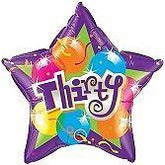 "20"" Age Thirty 30 Star Foil Balloon Qualatex"