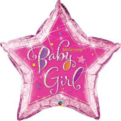 "36""  STAR HOLOGRPH        01CT,  WELCOME BABY GIRL STARS"