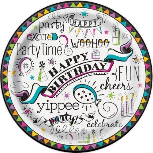 "Doodle Birthday Round 9"" Dinner Plates, 8ct"
