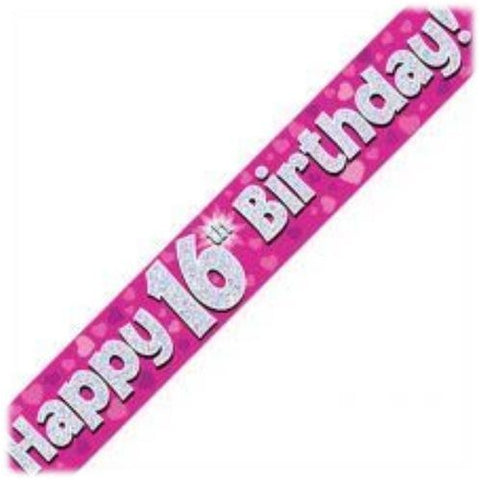 Pink Holographic Foil Birthday Age 16 Banner. Happy 16th Birthday Banner - Wholesale