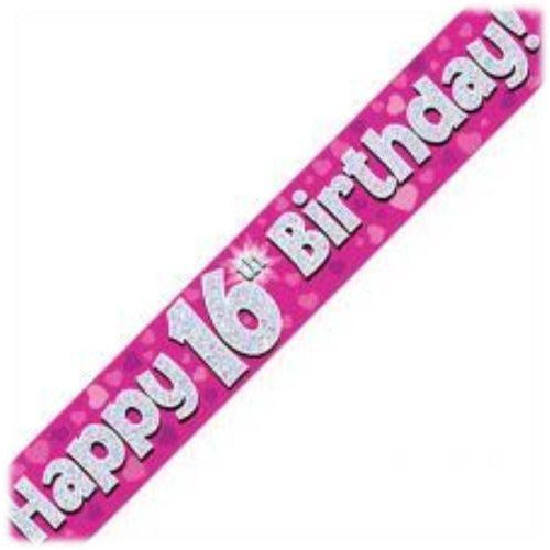 Pink Holographic Foil,16th Birthday Banner