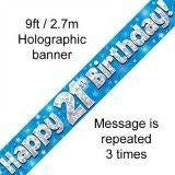 Blue Holographic Foil Birthday Age 21 Banner.