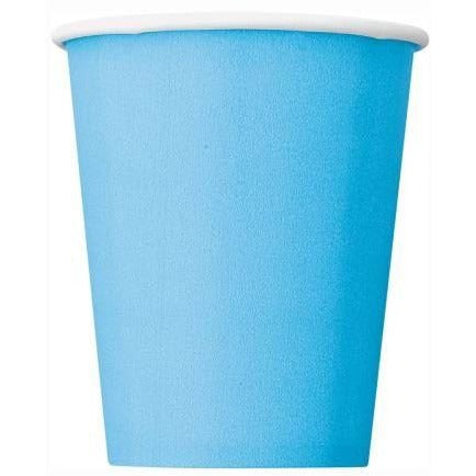 Powder Blue Solid 9oz Paper Cups, 8ct