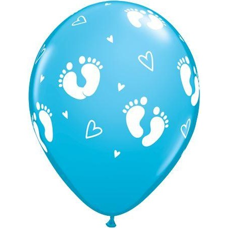 "Egg Shell Blue Baby Footprints & Hearts 11"" Round Latex X25"