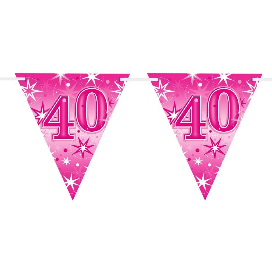 FLAG BANNER 160X190MM,  AGE 40 PINK SPARKLE