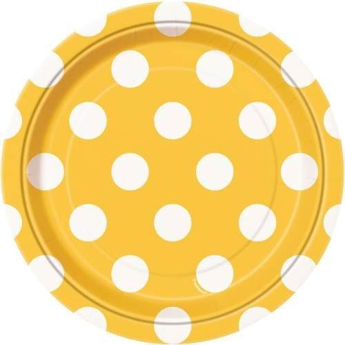 "8 Sunflower Yellow Dots 7"" Plates"