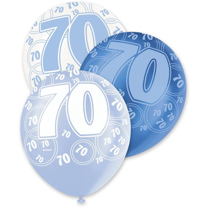Blue Glitz Latex Balloons Age 70
