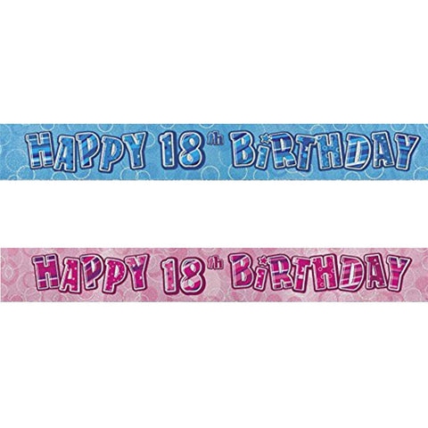 Glitz Pink 18th Foil Banner (9ft) (special price of 30p) (Also Upstairs)