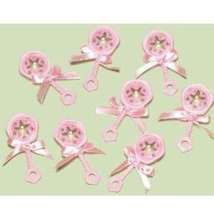 Pink baby shower favour charms
