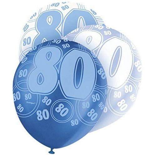 Blue Glitz Latex Balloons Age 80