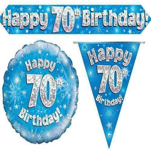 BLUE Age 70 Oaktree Banner Bunting Balloon Set