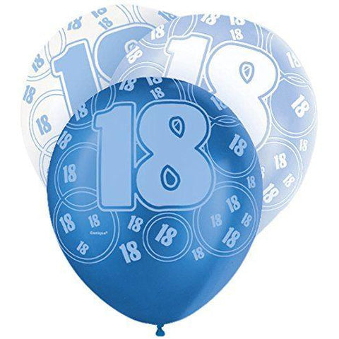 Blue Glitz Latex Balloons Age 18 (Special price of 65p)