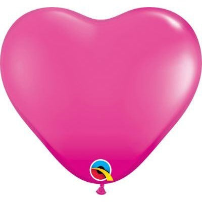 "Qualatex 6"" Wild Berry Heart Latex Balloons X100"