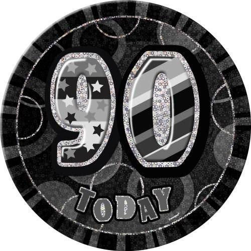 Birthday Black Glitz Number 90 Button Badge
