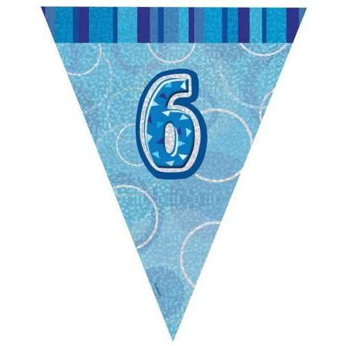 Blue Glitz Age 6 Flag Banner 9ft